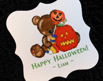 Personalized Halloween Party Favor Tags, teddy bear with pumpkin and candy, set of 20