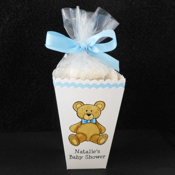personalized baby shower popcorn box favor boxes teddy bear with blue