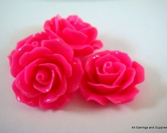 BOGO - 4 Fuchsia Cabochon Flower Opaque 18mm - No Holes - 4 pc - CA2004-FS4 - Buy 1, Get 1 Free - No coupon required