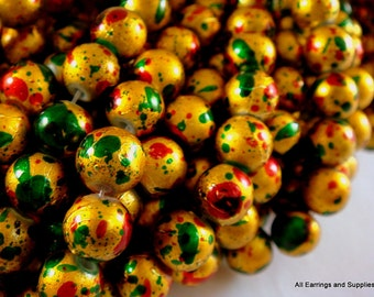 50 Gold Drawbench Beads 8mm Red Green Painted Round - 15 inch - G6044-GRG50