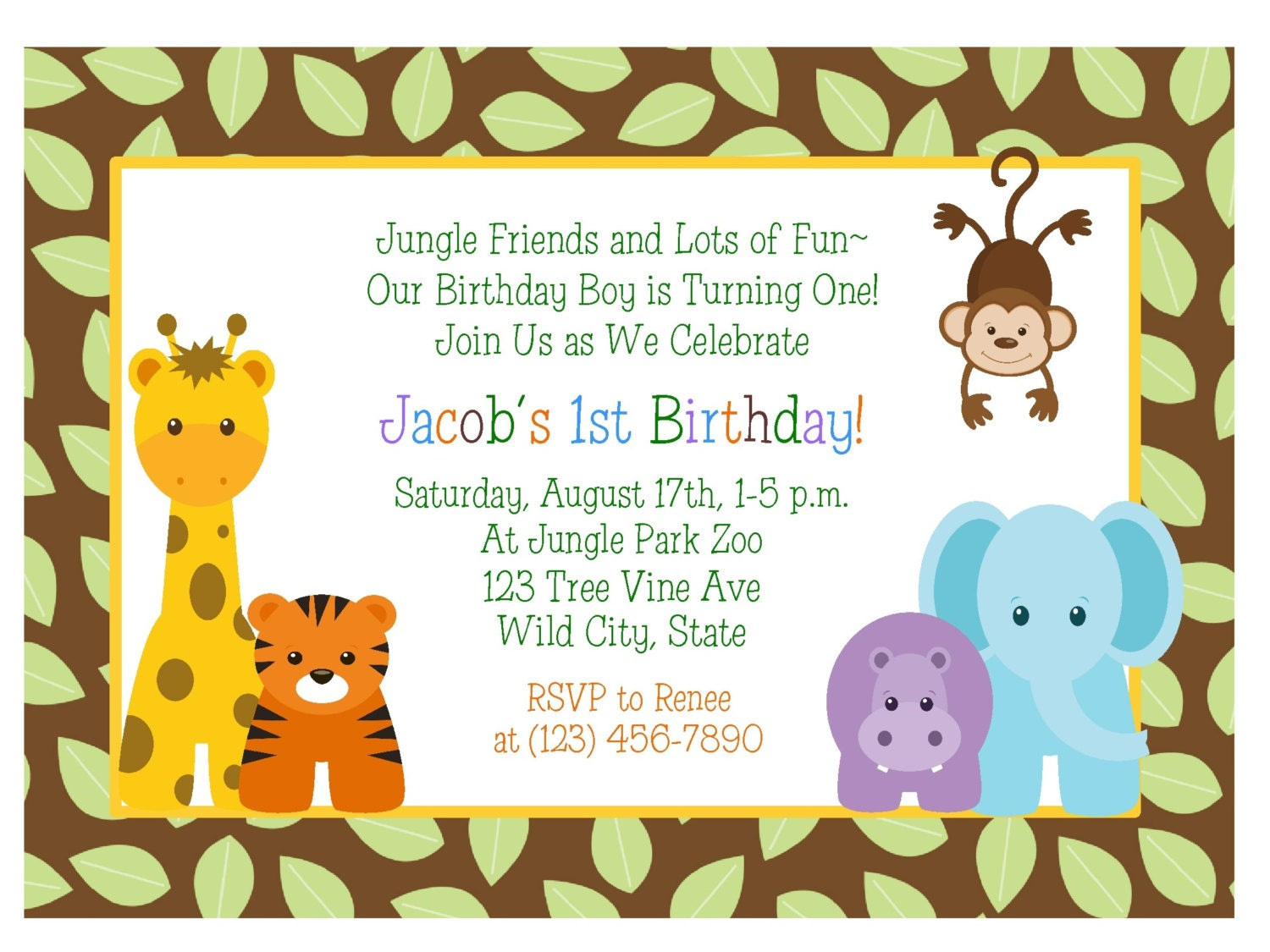 JUNGLE ANIMALS 1st Birthday Invitation Baby Shower – Safari First Birthday Invitations
