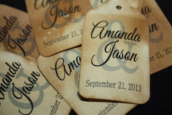 """SMALL 100 Bride and Groom 2'"""" Personalized Wedding Favor"""