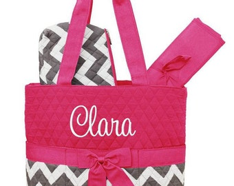 Personalized Diaper Bag Chevron Hot Pink Gray Quilted Monogrammed
