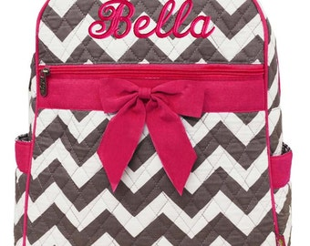 Personalized Backpack Chevron Gray Hot Pink Bookbag Quilted Monogrammed