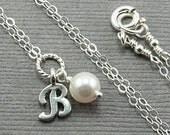 Flower Girl Jewelry Bridesmaid Necklace. Junior Bridesmaid Gift. Silver Initial Necklace with Swarovski Pearl. White Pearl Necklace