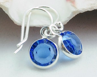 Custom Birthstone Earrings - September Birthstone Earrings - Sapphire Earrings - Personalized Gift - Sterling Silver - Swarovksi Crystal