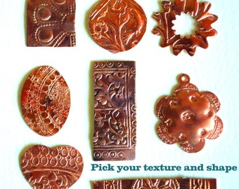 Qty 4 Solid Copper Blanks with Asst Texture Option - for Patina or enameling - Free Shipping USA