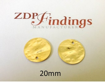 12pcs Discs 20mm Brushed Hammered Gold plated Charms with Hole (9202HBGP)