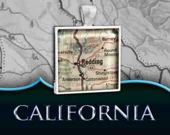 Redding, CA Map Pendant