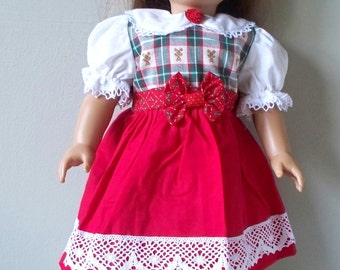 Handmade Doll Dress Fits 18 inch doll dress, Old fashioned Christmas Dress