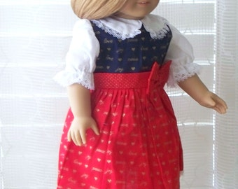 Handmade Doll Clothes, Red and Blue Christmas Doll Dress, Fits 18 inch doll