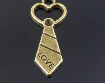 Bronze Heart Tie Charm - 6 pcs - Love, Father