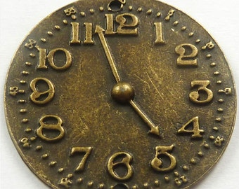 Watch Face Antiqued Bronze Charm lot of 14 - Wholesale
