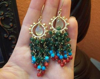 H e d i e h - 14k gold filled - dangle - chandelier earrings
