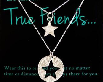 True Friends Pendant Set Best Friends Star Pendants Give one Sterling Silver