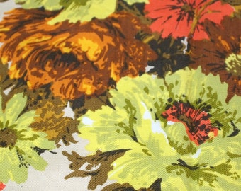 vintage 60s cotton canvas fabric, featuring great large floral design in browns, oranges, yellows, 1 yard, 2 available priced PER YARD
