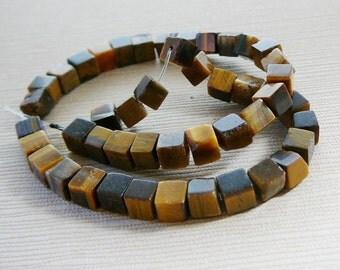 Gemstone Beads, Tiger eye Cube beads, 4mm half strand, golden brown, honey, chocolate jewelry beading supplies