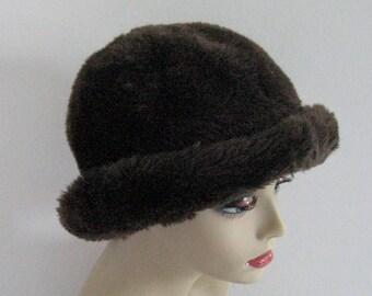 faux fur hat . 60s Brown Faux Fur Hat . Faux Fur Hat . Brown Fur Hat. vegan fur hat