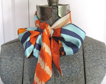 Vintage Graphic Bow Tie . Long Skinny Scarf . woman's tie .
