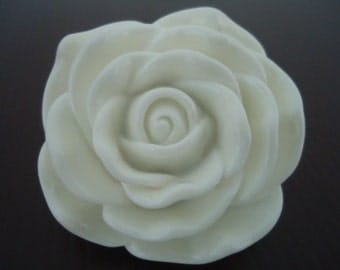 Discount Special : 45mm White Resin Rose Flower Beads (2x)