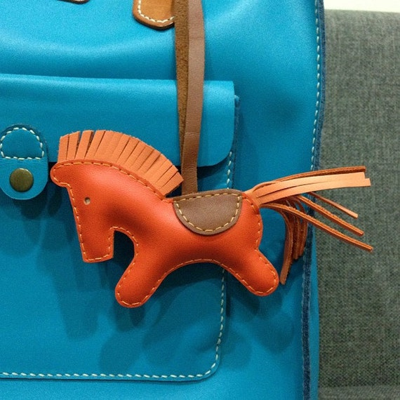 Reserved for tingrodriguez - BIG Beon the Horse leather charm ( Orange )