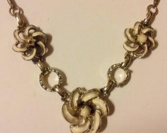 Vintage White Enamel Flower Link Necklace