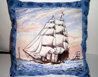 Tall Ship Pillow - Sail Boat Pillow - Tall Ship Cushion - Nautical Pillow - Sailing Ship Pillow - Blue Pillow
