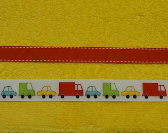 Cars and Trucks Bright Yellow Hooded Towel