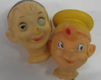 Set of 2 Vintage Kellog Crackle and Pop Puppet Heads