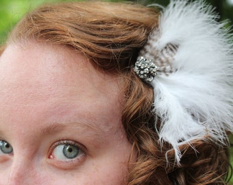 Bianca- feathered hairpiece with rhinestone and gunmetal accent