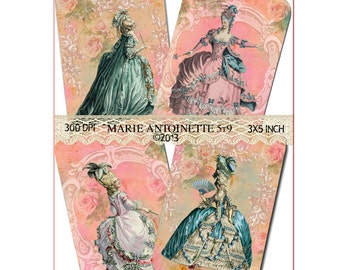 INSTANT DOWNLOAD - Marie Antoinette 5T9 - 3 X 5  -  High quality Collage Sheet - Printable Download - Gift Tags - Scrapbook