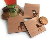 Mid century modern Chair Silhouettes - set of 4 Wood Coasters