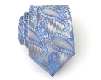 Men's Tie. Necktie Gray and Blue Paisley Mens Tie