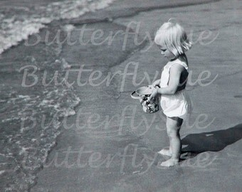 Digital Download Cute Little Blonde Girl On Beach with Mickey Mouse Bucket/Pail 1940's  300dpi