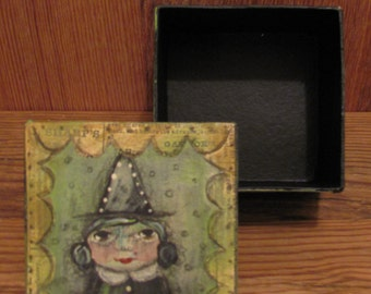 Folk Art Mixed Media Halloween Witch Art Box Painting EHAG