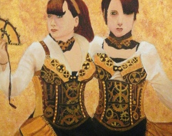 "Steampunk Art - Copper, Brown, and Gold Acrylic Painting - 12"" x 16"" on Gallery Wrapped Canvas 4/5"" deep. Steampunk Girls Cosplay Portrait."