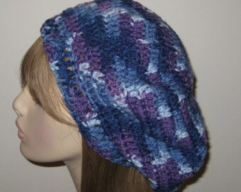 Slouchy Dread Beret Tam in Blues and Purple