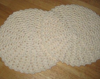 Crochet Cotton Round Dishcloth/Washcloth set of 2 in Off White