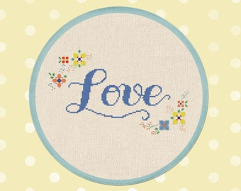 Love and Flowers. Cursive Love Modern Simple Cute Pretty Counted Cross Stitch Pattern PDF File. Instant Download