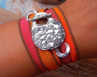 Silk Wrap Bracelets, Sterling Silver Silk Wrap Bracelet, Unique Silk Wrap Bracelet, Unique Ocean Wrap Bracelet, Cool Silk Ribbon Bracelets