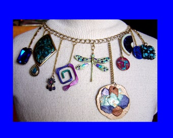 Dragonfly, Dangles and Doodads Bib Necklace Vintage Reconstruction of Old Jewelry Pieces