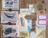 Letter Writing Set Stationary Upcycled Hand Embellished Shabby Vintage FREE SHIP