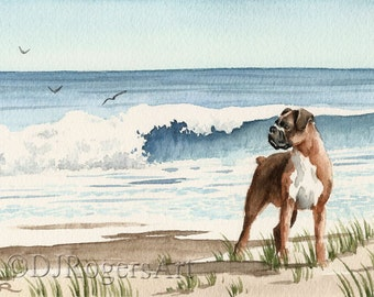 """BOXER Art Print """"Boxer At The BEACH"""" Signed by Watercolor Artist DJ Rogers"""