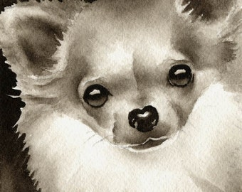 Long Haired Chihuahua Sepia Art Print Signed by Watercolor Artist DJ Rogers
