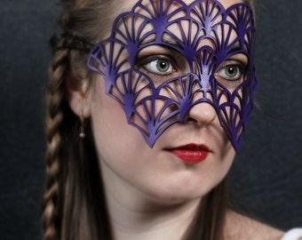 SALE! Fan leather mask in purple