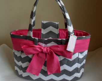 Large Gray Chevron with Hot Pink Bow and Interior Diaper Bag Tote CHOICE OF ACCENT