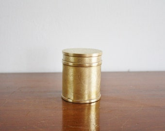 Vintage round brass box with lid