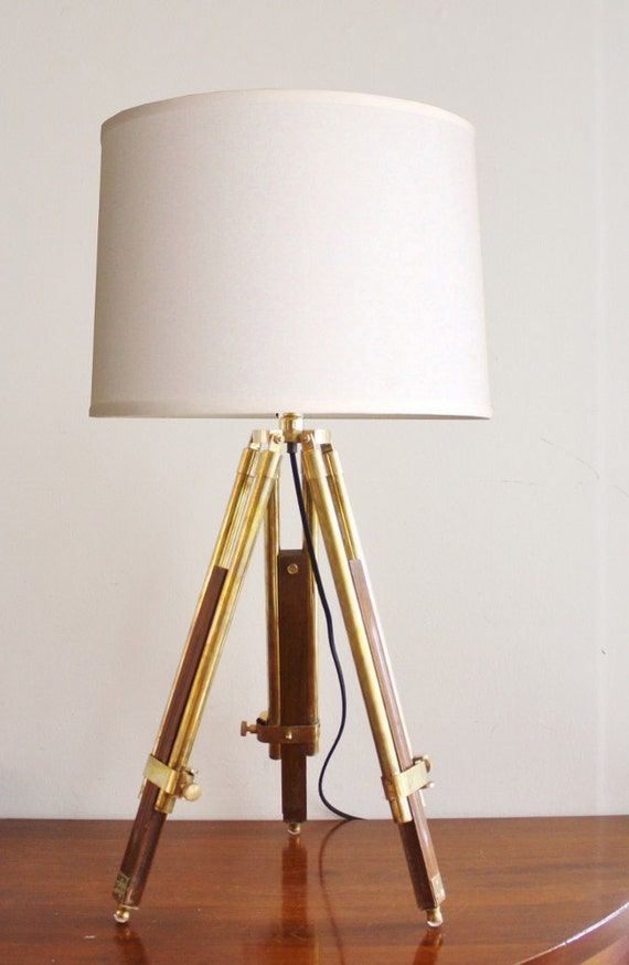 vintage wood and brass tripod table lamp. Black Bedroom Furniture Sets. Home Design Ideas