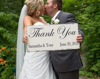 THANK YOU with your Names and Date Shabby Wedding Signs 9 x 18