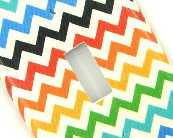 Chevron Light Switch Cover -- Muted Rainbow